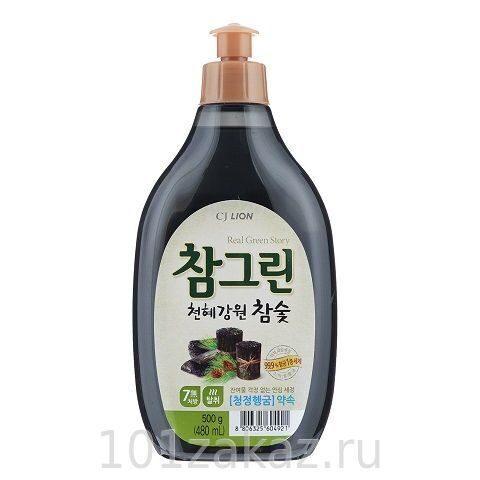 """Средство для мытья посуды, фруктов и овощей CJ Lion Chamgreen """"Древесный уголь"""", 480 мл"""