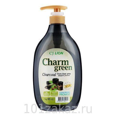 """Средство для мытья посуды, фруктов и овощей CJ Lion Chamgreen """"Древесный уголь"""", 965 мл"""