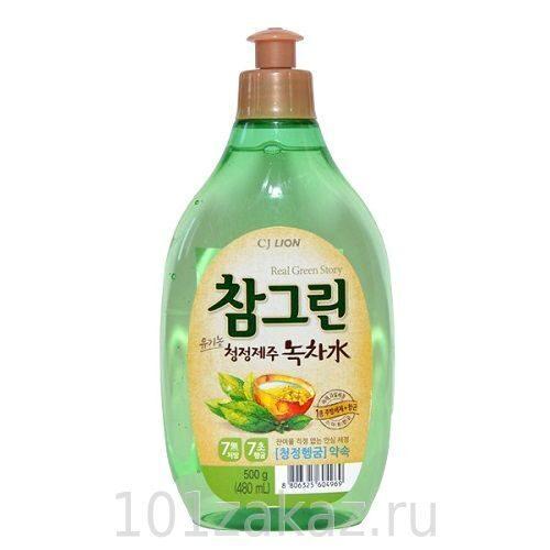"""Средство для мытья посуды, фруктов и овощей CJ Lion Chamgreen """"Зеленый чай"""", 480 мл"""