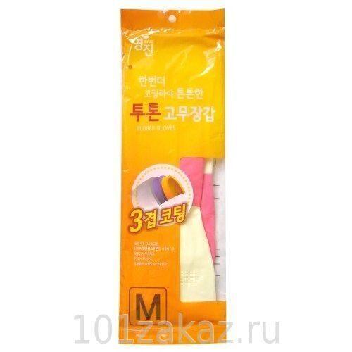 Перчатки латексные хозяйственные двухцветные MYUNGJIN RUBBER GLOVE TWO TONE, 1 пара