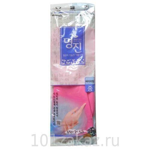 Перчатки латексные хозяйственные удлиненные MYUNGJIN RUBBER GLOVE BUYLIVING с манжетой, 1 пара
