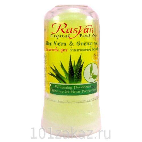 ISME Rasyan Crystal Roll On Aloe Vera & Green Tea дезодорант-кристалл для тела с алоэ и зеленым чаем, 80 г