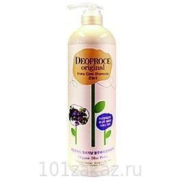 Deoproce Original Shiny Care 2 in 1 Shampoo Blueberry шампунь-бальзам для блеска волос с экстрактом черники, 1000 мл