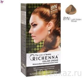 "Крем-краска для волос Richenna с хной 8YN, ""Light Golden Blonde"" Светло-золотой блонд"