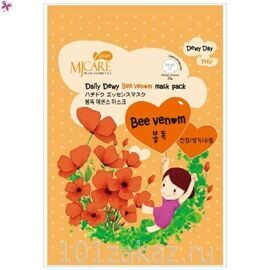 MJ Care Daily Dewy Bee Venom Mask Pack маска тканевая для лица с пчелиным ядом, 1 шт