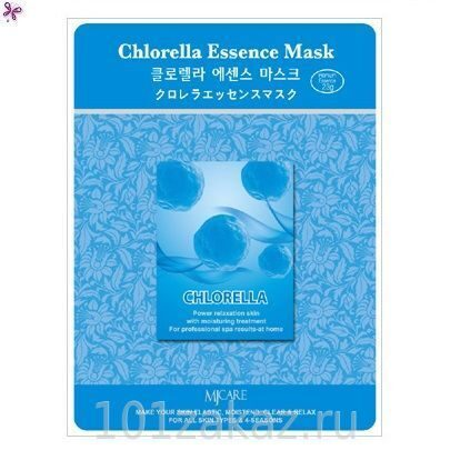 MJ Care Chlorella Essence Mask маска для лица с экстрактом хлореллы, 1 шт
