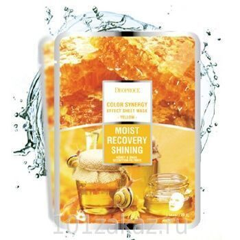 Deoproce Color Synergy Effect Sheet Mask Yellow маска для лица с экстрактом слизи улитки и мёда, 1 шт