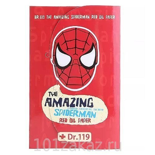 Baviphat Dr.119 The Amazing Spiderman Red Oil Paper матирующие салфетки для лица, 50 шт