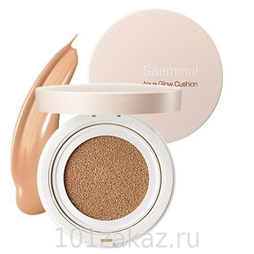 The SAEM Saemmul Aqua Glow Cushion SPF50+ PA+++ 01 Light Beige основа-крем сияющая, 15 г