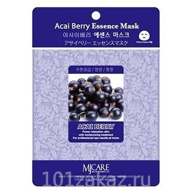 MJ Care Acai Berry Essence Mask маска для лица с экстрактом ягоды асаи, 1 шт