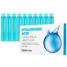 Филлеры для волос с гиалуроновой кислотой – FarmStay Hyaluronic Acid Super Aqua Hair Filler 10pcs