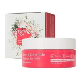 Патчи для глаз с розой и керамидами. FarmStay Rose & Ceramide Hydrogel Eye Patch.
