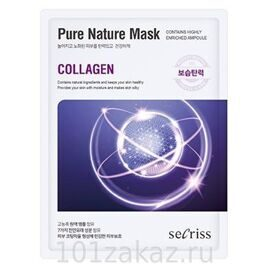 Тканевая маска для лица «Коллаген». Secriss Pure Nature Mask Collagen.